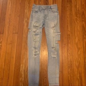 Light High Waisted Jeans with Rips